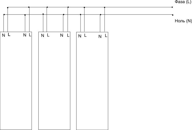 Схема параллельного подключения полос ПлЭН, имеющих 4 провода