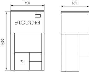 Габаритные размеры автоматического пеллетного котла BIODOM 21