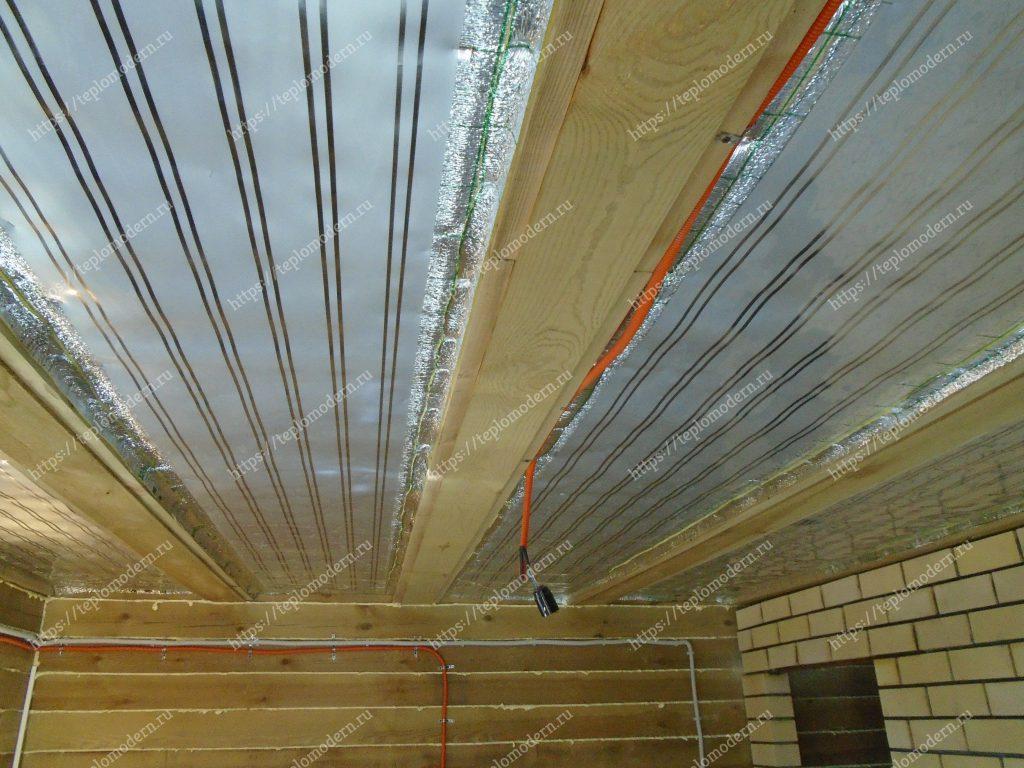 Отопление потолочными плёночными электронагревателями (ПлЭН) в бане