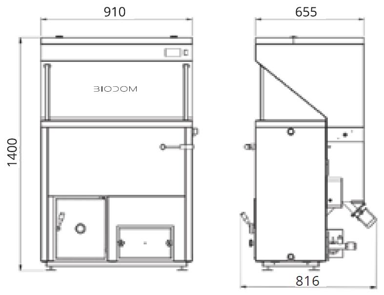 Габаритные размеры пеллетного котла BIODOM27