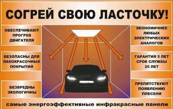 Отопление гаража инфракрасными потолочными обогревателями