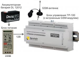 Блок управления ТР-100, АКБ DL 12012, блок питания